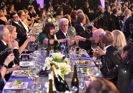 Stock Image of Robert F. Kennedy, Jr., Cheryl Hines, Mary Steenburgen, Ted Danson, Larry David. Cheryl Hines, from second left, Mary Steenburgen, Ted Danson, and Larry David toast at the 24th annual Screen Actors Guild Awards at the Shrine Auditorium & Expo Hall, in Los Angeles. Looking on at left is Robert F. Kennedy, Jr