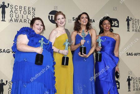 Chrissy Metz (L-R), Alexandra Breckenridge, Mandy Moore and Susan Kelechi Watson pose with the SAG Awards for Ensemble in a Drama Series in 'This Is Us' during the 24th annual Screen Actors Guild Awards ceremony at the Shrine Exposition Center in Los Angeles, California, USA, 21 January 2018. The SAG Awards honors the best achievements in film and television performances.