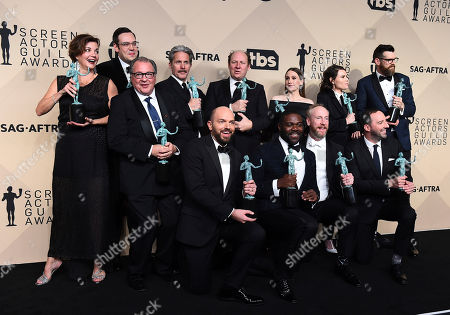"Margaret Colin, Kevin Dunn, Nelson Franklin, Gary Cole, Dan Bakkedahl, Sarah Sutherland, Clea Du Vall, Timothy Simons, Paul Scheer, Sam Richardson, Matt Walsh, Tony Hale. Margaret Colin, from back row left, Kevin Dunn, Nelson Franklin, Gary Cole, Dan Bakkedahl, Sarah Sutherland, Clea Du Vall, Timothy Simons, Paul Scheer, Sam Richardson, Matt Walsh, and Tony Hale, winners of the award for outstanding ensemble in a comedy series for ""Veep"", pose in the press room at the 24th annual Screen Actors Guild Awards at the Shrine Auditorium & Expo Hall, in Los Angeles"