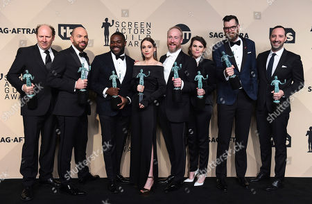 "Dan Bakkedahl, Paul Scheer, Sam Richardson, Sarah Sutherland, Matt Walsh, Clea Du Vall, Timothy Simons, Tony Hale. Dan Bakkedahl, from left, Paul Scheer, Sam Richardson, Sarah Sutherland, Matt Walsh, Clea Du Vall, Timothy Simons, and Tony Hale, winners of the award for outstanding ensemble in a comedy series for ""Veep"", pose in the press room at the 24th annual Screen Actors Guild Awards at the Shrine Auditorium & Expo Hall, in Los Angeles"