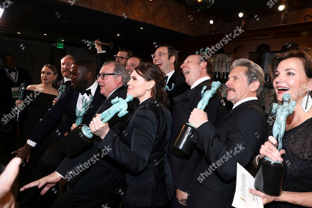 "Sarah Sutherland, Matt Walsh, Timothy Simons, Sam Richardson, Tony Hale, Nelson Franklin, Kevin Dunn, Clea Du Vall, Dan Bakkedahl, Gary Cole, Margaret Colin. The cast of ""Veep"" pose backstage with their awards for outstanding ensemble in a comedy series"