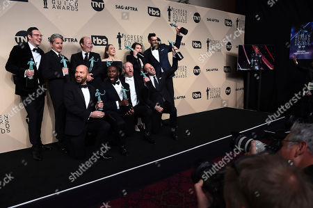 "Nelson, Franklin, Gary Cole, Dan Bakkedahl, Sarah Sutherland, Clea Du Vall, Timothy Simons, Paul Scheer, Sam Richardson, Matt Walsh, Tony Hale. Nelson Franklin, from back row left, Gary Cole, Dan Bakkedahl, Sarah Sutherland, Clea Du Vall, Timothy Simons, Paul Scheer, Sam Richardson, Matt Walsh, and Tony Hale, winners of the award for outstanding ensemble in a comedy series for ""Veep"", pose in the press room at the 24th annual Screen Actors Guild Awards at the Shrine Auditorium & Expo Hall, in Los Angeles"