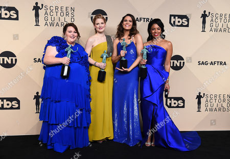 "Chrissy Metz, Alexandra Breckenridge, Mandy Moore, Susan Kelechi Watson. Chrissy Metz, from left, Alexandra Breckenridge, Mandy Moore, and Susan Kelechi Watson pose in the press room with their awards for outstanding performance by an ensemble in a drama series for ""This Is Us"" at the 24th annual Screen Actors Guild Awards at the Shrine Auditorium & Expo Hall, in Los Angeles"