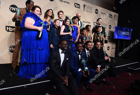 "Milo Ventimiglia, Mandy Moore, Sterling K. Brown, Chrissy Metz, Justin Hartley, Susan Kelechi Watson, Chris Sullivan, Ron Cephas Jones, Jon Huertas, Eris Baker, Faithe Herman, Mackenzie Hancsicsak, Parker Bates, Alexandra Breckenridge, Hannah Zeile, Lonnie Chavis, Niles Fitch, Logan Shroyer. The cast of ""This is Us"" poses in the press room at the 24th annual Screen Actors Guild Awards at the Shrine Auditorium & Expo Hall, in Los Angeles"
