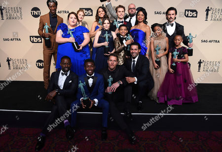 "Stock Picture of Milo Ventimiglia, Mandy Moore, Sterling K. Brown, Chrissy Metz, Justin Hartley, Susan Kelechi Watson, Chris Sullivan, Ron Cephas Jones, Jon Huertas, Eris Baker, Faithe Herman, Mackenzie Hancsicsak, Parker Bates, Alexandra Breckenridge, Hannah Zeile, Lonnie Chavis, Niles Fitch, Logan Shroyer. The cast of ""This is Us"" poses in the press room at the 24th annual Screen Actors Guild Awards at the Shrine Auditorium & Expo Hall, in Los Angeles"