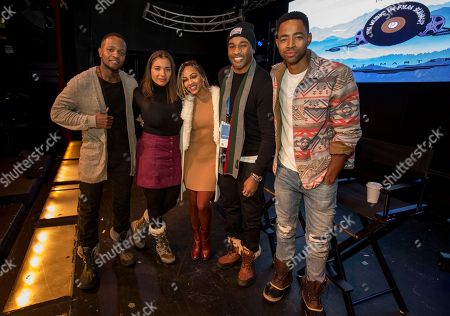 Stock Photo of Qasim Basir, Samantha Tannner, Meagan Good, Omari Hardwick, Jay Ellis. Qasim Basir, Samantha Tannner, Meagan Good, Omari Hardwick and Jay Ellis seen at the JetSmarter Film Summit at Park City Live, in Park City, Utah