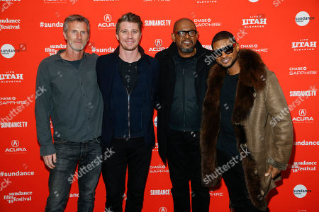"Stock Picture of Usher, Usher, Andrew Heckler, Garrett Hedlund, Forest Whitaker. From left to right, writer and director Andrew Heckler, Garrett Hedlund, Forest Whitaker, and and singer Usher pose at the premiere of ""Burden"" during the 2018 Sundance Film Festival, in Park City, Utah"