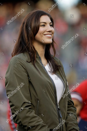 Former United States goalkeeper Hope Solo reacts during ceremony before an international friendly soccer match against Denmark, in San Diego. Solo appeared in 202 games for the national team, most for any goalkeeper in U.S. history