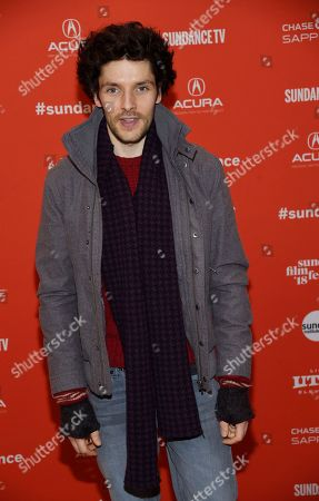 """Colin Morgan, a cast member in """"The Happy Prince,"""" poses at the premiere of the film at the 2018 Sundance Film Festival, in Park City, Utah"""