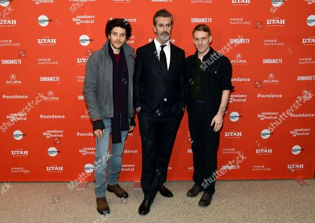 "Rupert Everett, Edwin Thomas, Colin Morgan. Rupert Everett, center, the writer, director and star of ""The Happy Prince,"" poses alongside cast members Colin Morgan, left, and Edwin Thomas at the premiere of the film at the 2018 Sundance Film Festival, in Park City, Utah"