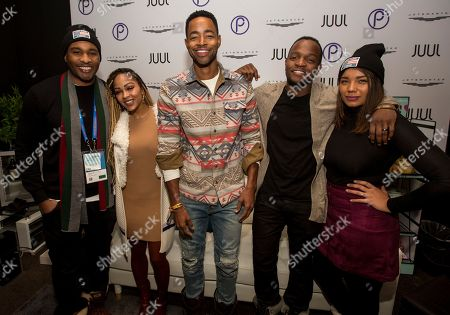Stock Image of Omari Hardwick, Meagan Good, Jay Ellis, Qasim Basir, Samantha Tannne. Omari Hardwick, Meagan Good, Jay Ellis, Qasim Basir and Samantha Tannner seen at the JetSmarter Film Summit at Park City Live, in Park City, Utah