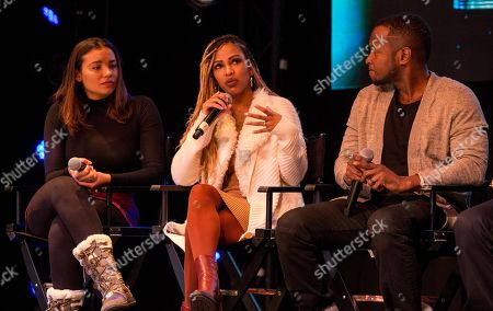 Stock Photo of Samantha Tannner, Meagan Good, Qasim Basir. Samantha Tannner, Meagan Good and Qasim Basir seen at the JetSmarter Film Summit at Park City Live, in Park City, Utah
