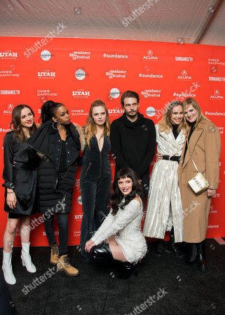 """Maude Apatow, Abra, Odessa Young, Bella Thorne, Sam Levinson, Suki Waterhouse, Han Nef. From left, Maude Apatow, Abra, Odessa Young, Bella Thorne, Sam Levinson, Suki Waterhouse and Han Nef pose during the premiere of """"Assassination Nation"""" at the Library Theatre during the 2018 Sundance Film Festival, in Park City, Utah"""