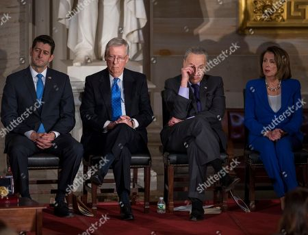 Paul Ryan, Mitch McConnell, Chuck Schumer, Nancy Pelosi. In this photo from, congressional leaders, from left, Speaker of the House Paul Ryan, R-Wis., Senate Majority Leader Mitch McConnell, R-Ky., Senate Minority Leader Chuck Schumer, D-N.Y., and House Minority Leader Nancy Pelosi, D-Calif., gather to honor former Sen. Bob Dole, in Washington, Wednesday, Jan. 17, 2018