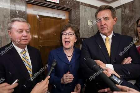 Lindsey Graham, Susan Collins, Jeff Flake. Sen. Lindsey Graham, R-S.C., from left, Sen. Susan Collins, R-Maine, and Sen. Jeff Flake, R-Ariz., speak to reporters after working with a bipartisan group of moderate senators to find a way to reopen the government on the third day of the federal shutdown, at the Capitol in Washington