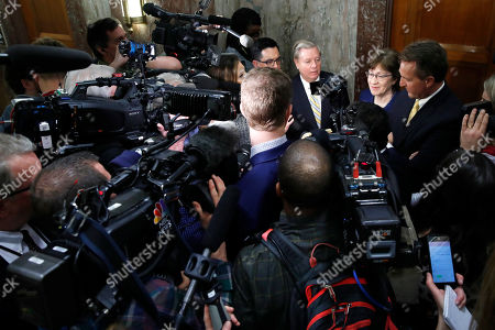 Lindsey Graham, Susan Collins, Jeff Flake. Sen. Lindsey Graham, R-S.C., back left, Sen. Susan Collins, R-Maine, and Sen. Jeff Flake, R-Ariz., speak to the media after attending a bipartisan meeting of senators, on Capitol Hill in Washington on day three of the government shutdown