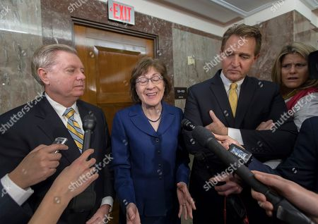 Lindsey Graham, Susan Collins, Jeff Flake. Sen. Lindsey Graham, R-S.C., Sen. Susan Collins, R-Maine, and Sen. Jeff Flake, R-Ariz., speak to reporters after working with a bipartisan group of moderate senators to find a way to reopen the government on the third day the federal shutdown, at the Capitol in Washington
