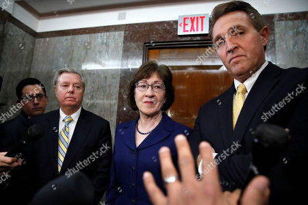 Lindsey Graham, Susan Collins, Jeff Flake. Sen. Lindsey Graham, R-S.C., left, Sen. Susan Collins, R-Maine, and Sen. Jeff Flake, R-Ariz., listen to a question from the media after attending a bipartisan meeting of senators, on Capitol Hill in Washington on day three of the government shutdown