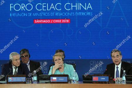 Wang Yi, Heraldo Munoz and Michelle Bachelet