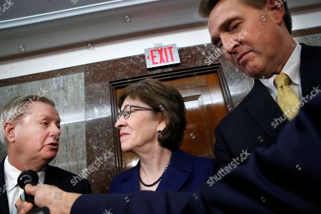 Lindsey Graham, Susan Collins, Jeff Flake. Sen. Lindsey Graham, R-S.C., left, Sen. Susan Collins, R-Maine, and Sen. Jeff Flake, R-Ariz., speak to the media after attending a bipartisan meeting of senators, on Capitol Hill in Washington on Day Three of the government shutdown