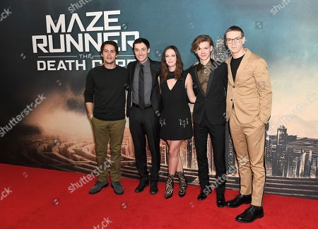 Dylan O'Brien, Wes Ball, Kaya Scodelario, Thomas Sangster and Will Poulter