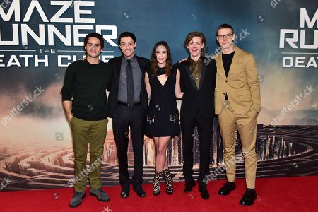Dylan O'Brien, Wes Ball, Kaya Scodelario, Thomas Brodie-Sangster and Will Poulter