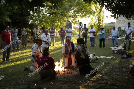 Stock Picture of Members of the Salvadoran originary people participate in a ceremony in Izalco, El Salvador, 22 January 2018. The members of the originar peoples of El Salvador recalled the indigenous massacre of 1932 perpetrated by dictator Maximiliano Hernandez Martinez (1935-1944) and claimed for justice.