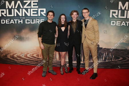 Dylan O'Brien, Kaya Scodelario, Thomas Brodie-Sangster, Will Poulter. Actors from left Dylan O'Brien, Kaya Scodelario, Thomas Brodie-Sangster and Will Poulter pose for photographers upon arrival at the fan screening of the film 'Maze Runner: The Death Cure' in London