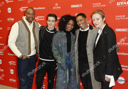 (L-R) Actors Dorian Missick, Liam Obergfoll, Lovie Simone, Kelvin Harrison Jr. and Jennifer Ehle, arrive for the premiere of the movie 'Monster' at the 2018 Sundance Film Festival in Park City, Utah, USA, 22 January 2018. The festival runs from the 18 to 28 January.