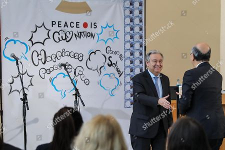 """Stock Photo of UN Secretary-General Antonio Guterres (L) and Ambassador Koro Bessho, Permanent Representative of Japan to the UN are honored at the event """"Peace is"""" in the Lobby of the United Nations headquarters in New York"""