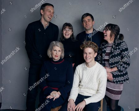 """Phil Engelhor, Paris McGarry, Cameron Yates, Laura Coxson, Meg McGarry, Flynn McGarry. Phil Engelhor, from back left, Paris McGarry director Cameron Yates, producer Laura Coxson, Meg McGarry, bottom left, and Flynn McGarry pose for a portrait to promote the film """"Chef Flynn"""" at the Music Lodge during the Sundance Film Festival, in Park City, Utah"""