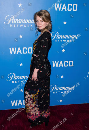 """Stock Picture of Sarah Minnich attends the world premiere of """"Waco"""" at Jazz at Lincoln Center, in New York"""
