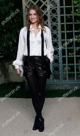 French actress Joana Preiss poses during a photocall before Chanel Haute Couture Spring-Summer 2018 fashion collection presented in Paris, Tuesday, Jan.23, 2018