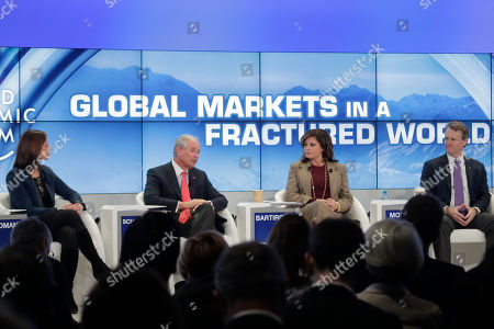 From left, Adena Friedman, President and CEO of Nasdaq, Blackstone Group CEO Stephen Schwarzman, Maria Bartiromo, Global Markets Editor of Fox Business Network and Brian Moynihan, Chairman and CEO of Bank of America attend a panel about Global Markets in a Fractured World during the World Economic Forum, WEF, in Davos, Switzerland