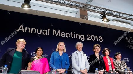 From left, The Co-Chairs of the Annual Meeting Erna Solberg, Prime Minister of Norway, Chetna Sinha, Chair Mann Deshi Foundation, Ginni Rometty, Chairman, President and CEO of IBM, Christine Lagarde, Managing Director International Monetary Fund, Isabelle Kocher, CEO ENGIE, Fabiola Gianotti, Director-General of the European Organization for Nuclear Research and Sharan Burrow, General Secretary of the International Trade Union Confederation, pose for the media prior to a news conference 'Creating a Shared Future in a Fractured World ' during the World Economic Forum, WEF, in Davos, Switzerland