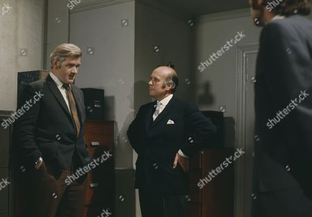 Stock Picture of Percy Herbert, as Supt. Kellaway, Geoffrey Chater, as Lord Rush, and Michael Coles, as Det. Sgt. Gable