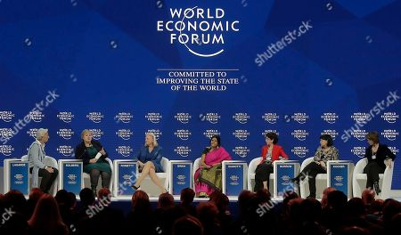 From left, Christine Lagarde, Managing Director of the International Monetary Fund (IWF), Erna Solberg, Prime Minister of Norway, Virginia Rometty, CEO of IBM, Chetna Sinha, President of the Mann Deshi Foundation, Fabiola Gianotti, Director of the European Organization for Nuclear Research (CERN), Sharan Burrow, General Secretary of the International Trade Union Confederation (ITUC) and Isabelle Kocher, CEO of ENGIE, attend a discussion on creating a shared future in a fractured world during the annual meeting of the World Economic Forum in Davos, Switzerland