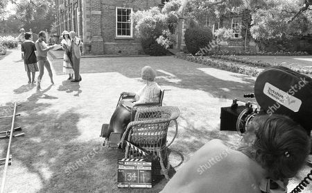 Behind the scenes location filming with Barbara Kellerman, as Thalia Darlson; Joyce Carey, as Mrs. Desmond and Maurice Denham, as Lord Hawker