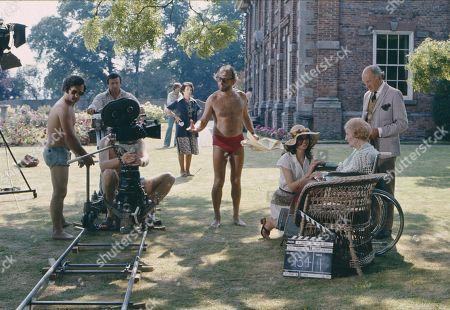 Behind the scenes location filming with Barbara Kellerman, as Thalia Darlson; Joyce Carey, as Mrs. Desmond and Maurice Denham, as Lord Hawker