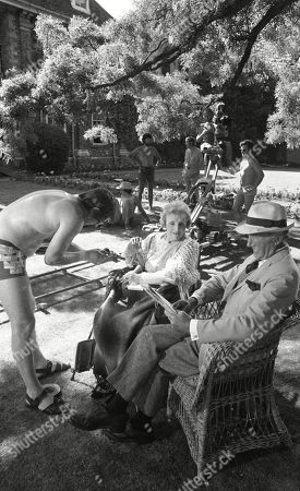 Behind the scenes location filming with Joyce Carey, as Mrs. Desmond and Maurice Denham, as Lord Hawker