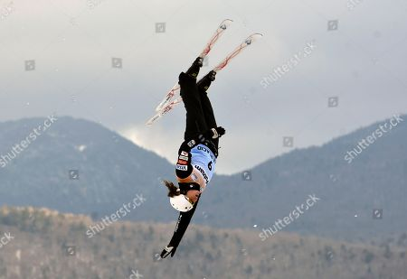 Ashley Caldwell, of the United States, competes in the women's World Cup freestyle skiing aerials in Lake Placid, N.Y