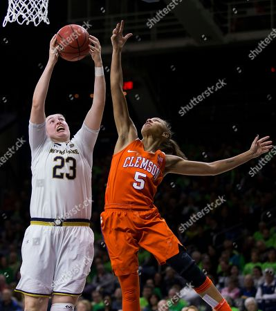 Jessica Shepard, Danielle Edwards. Notre Dame's Jessica Shepard (23) grabs a rebound next to Clemson's Danielle Edwards (5) during the second half of an NCAA college basketball game, in South Bend, Ind