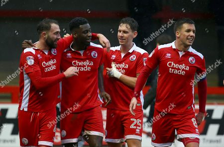 Crawley's Josh Payne celebrates with goal scorer Enzio Boldewijn, Mark Randall  and Jimmy Smith during the Sky Bet League 2 match between Crawley Town and Accrington Stanley at the Checkatrade Stadium in Crawley. 27 Jan 2018