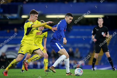 Isaac Christie-Davies of Chelsea shields the ball from Oxford United's Josh Ruffels during Chelsea Under-23 vs Oxford United, Checkatrade Trophy Football at Stamford Bridge on 23rd January 2018