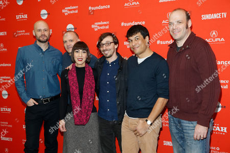 "Josh Lambert, Yvonne Lambert, Toto Miranda, Chris Ohlson, David Zellner, Nathan Zellner. Members of the band The Octopus Project, form third left to right, Josh Lambert, Yvonne Lambert, and Toto Miranda, pose with producer Chris Ohlson, left, director, screenwriter and actor David Zellner, second left, and director, screenwriter and actor Nathan Zellner, right, at the premiere of ""Damsel"" during the 2018 Sundance Film Festival, in Park City, Utah"