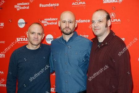 "Stock Picture of David Zellner, Nathan Zellner, Chris Ohlson. Directors, screenwriters and actors David Zellner, left, and Nathan Zellner, right, pose with producer Chris Ohlson, center, at the premiere of ""Damsel"" during the 2018 Sundance Film Festival, in Park City, Utah"