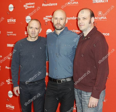 Director/Screenwriter David Zellner (L), producer Chris Ohlson (C) and director/screenwriter Nathan Zellner, arrive for the premiere of the movie 'Damsel' at the 2018 Sundance Film Festival in Park City, Utah, USA, 23 January 2018. The festival runs from  the 18 to 28 January.
