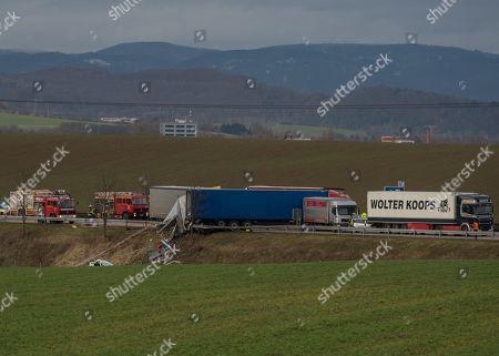 Truck crash on highway 38 near Nordhausen Stock Photos