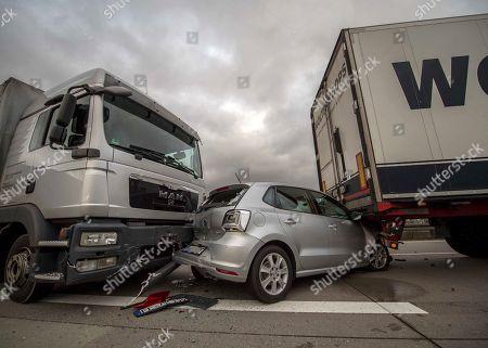 Truck crash on highway 38 near Nordhausen Stock Photos (Exclusive