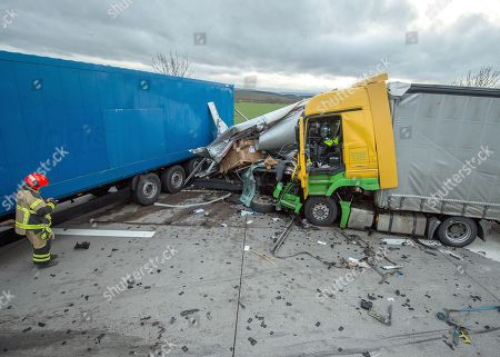 Truck crash on highway 38 near Nordhausen Stock Photos